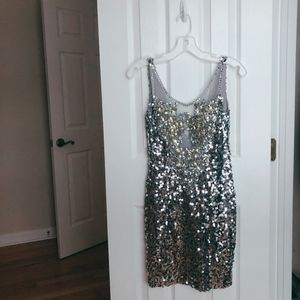 Dave and Johnny Silver Beaded & Sequined Dress.
